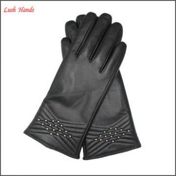 ladies Simple thermal sealing stripes sheep skin leather gloves