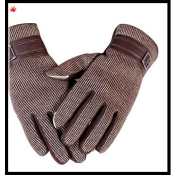 men's fangle woolen cloth gloves with leather belt