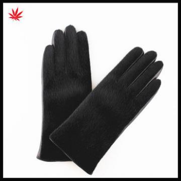 Ladies fashion horse hair nappa sheep leather gloves