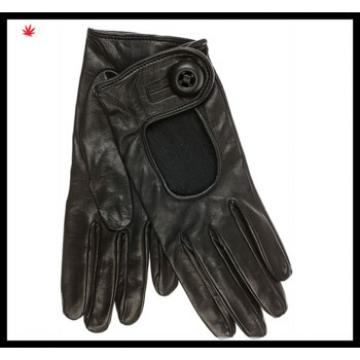 men's handsome black simple style leather gloves with buttons