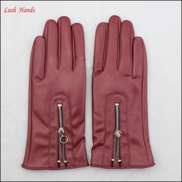 cheap PU leather glove winter dress PU leather glove with zipper