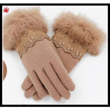ladies Winter thin woolen gloves rabbit fur lace pattern warm gloves