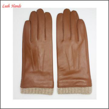 brown leather hand gloves for women