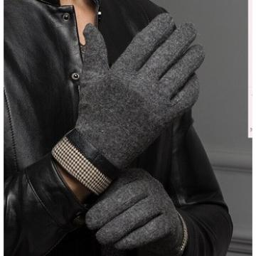2016 men's popular woolen fashion gloves with delicate cuff