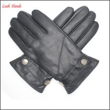 Fashion men's real sheepskin gloves with leather belt
