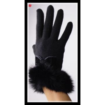 2016 popular black woolen fashion gloves decorated with fur