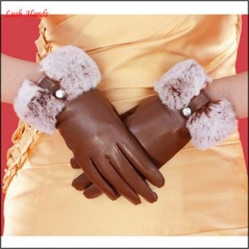women fashion genuine leather gloves with rabbit fur cuff
