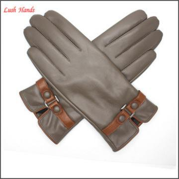 2016 Lady brown genuine sheepskin touch-screenleather gloves