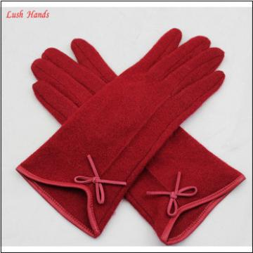 Wholesale women fashion winter wool gloves with bow