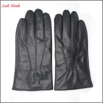 lady's simple style 100% genuine sheepskin gloves with three back stitches