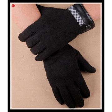 2015 men's fangle black woolen cloth gloves with leather cuff