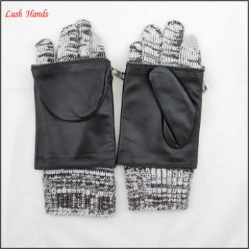 women fashion leather gloves lining grey kintted