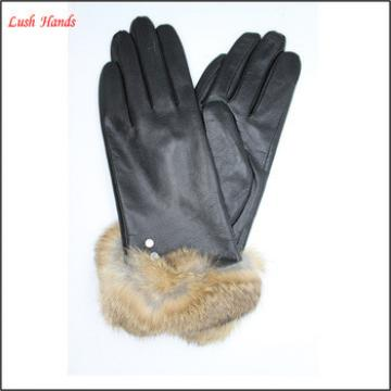 Women's lamb skin leather gloves with Fake fur cuff