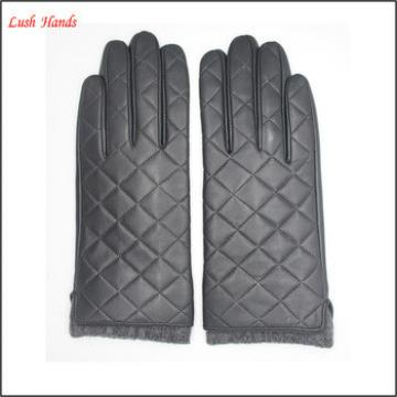 2016 new style women's checked genuine sheepskin gloves with knitted cuff