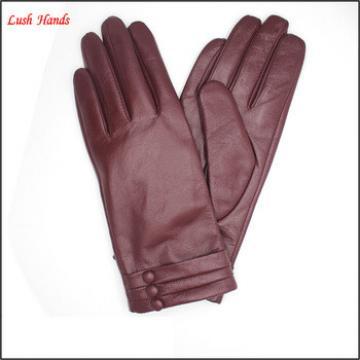 2016 Lady fashion purple genuine sheepskin touch-screen gloves