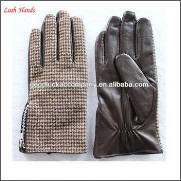 Leather mens winter sheepskin and cloth gloves with cheap price
