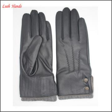womans fashion buttons knitted woolen cuff genuine sheepskin leather gloves with back stitches