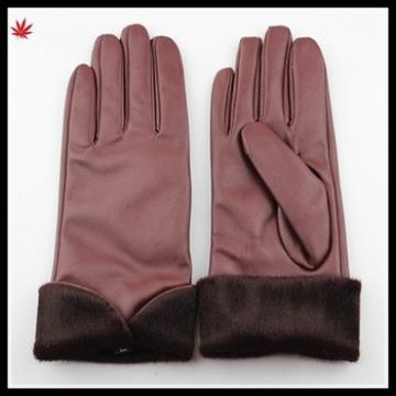 ladies wearing simple style PU gloves with fake horse fur