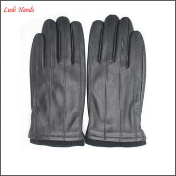 Genuine leather men winter gloves with knitting