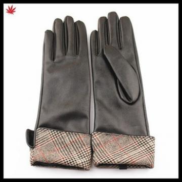 basic style warm winter wearing long PU gloves for ladies
