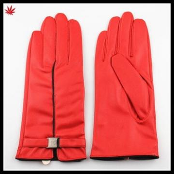 Imitation leather wholesale winter gloves for gilrs