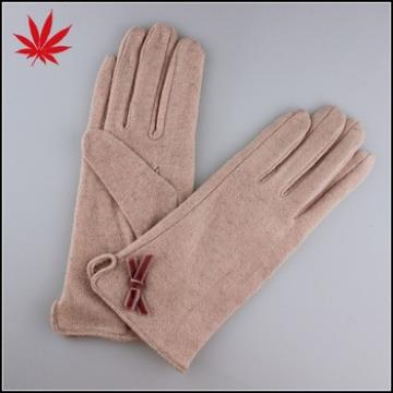 Women's beige wool gloves with a small knot decorate cheap price