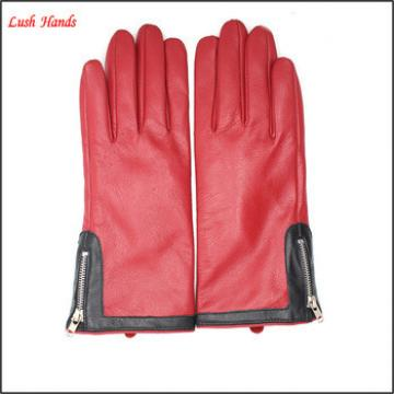 2016 ladies winter cheap pigskin leather hand gloves with zipper