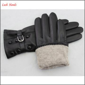 New arrival 2017 fashion ladies leather gloves with design button