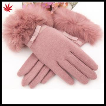girls fashion sweet warm fur woolen gloves fashion wool gloves with bow