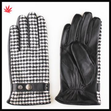 fashion PU men grid cloth stitching leather gloves with belt buckle