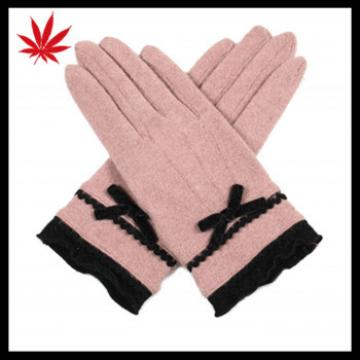 Cheap Cute Sexy Ladies sweet Wool Dress Gloves with Belt Bow Trimming for Women and Girls