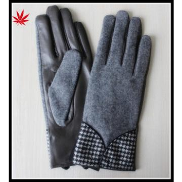 Fashion gloves gray wool winter gird Houndstooth leather gloves