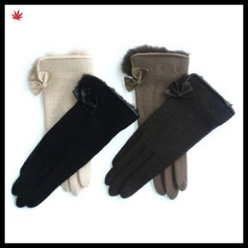 ladies top fur glove bow washed sheep wool gloves