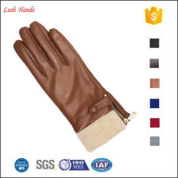 ladies winter sheepskin touch leather hand gloves brown