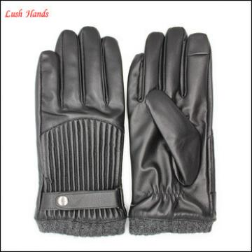 men's fashion winter leather gloves with belt and metal button