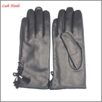 Fashion Women Sheepskin leather gloves with tassels
