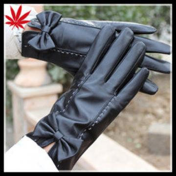 ladies leather gloves with bow cuff