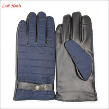 new style custom made leather gloves for men back blue fabric and plam leather gloves with back buckle