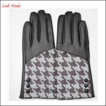 ladies Houndstooth leather gloves lining with polyester