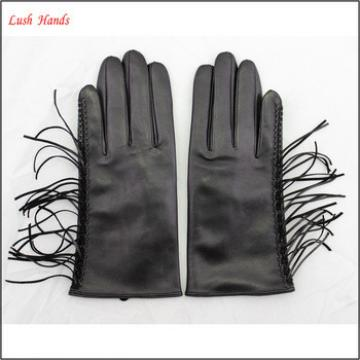 ladies fashion wholesale winter leather hand gloves black with tassel