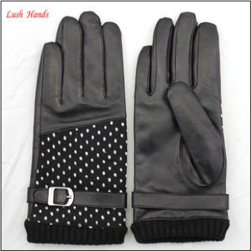 2016 laies new style touch screen leather gloves fabric ane leather stitching leather gloves with belt buckle