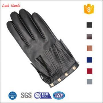 ladies genuine sheepskin leather hand gloves black with tassel