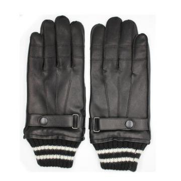 2016 men's leather gloves with knitted rib cuff for wholesale