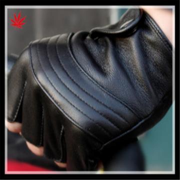 2016 fashion black sheepskin leather driving gloves