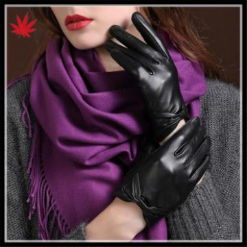 Lady's purple high-class lace cuff genuine leather gloves