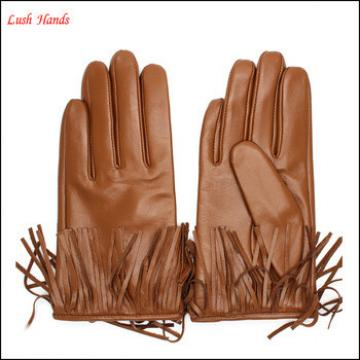 2016 fashion new style brown tassel ladies leather gloves lining polyester fur