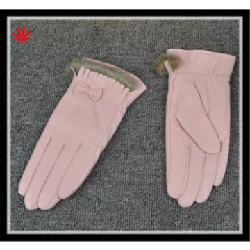 wholesale women's 100% sheepskin leather gloves with fur cuff