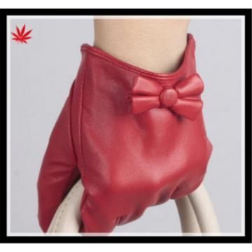 2016 custom made leather gloves with lovely bowknot
