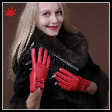lovely red bright sheepskin leather gloves with double bow for wholesale