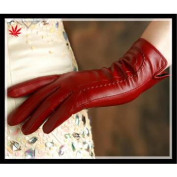 Lady's daily-use classic simple well- trimmed genuine leather gloves